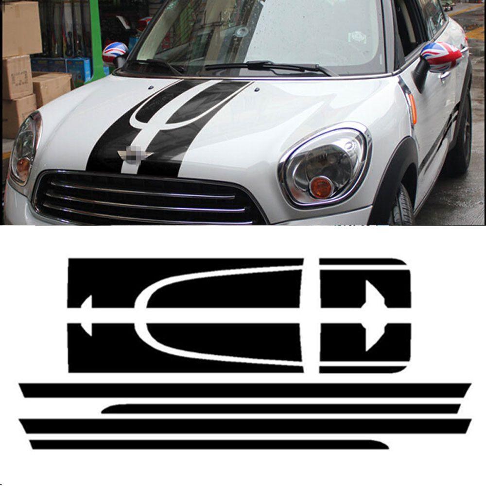 Набор автомобилей Сторона гонки в полоску капюшон сзади Двигатели для автомобиля крышка багажника виниловая наклейка Стикеры для Mini Cooper ...