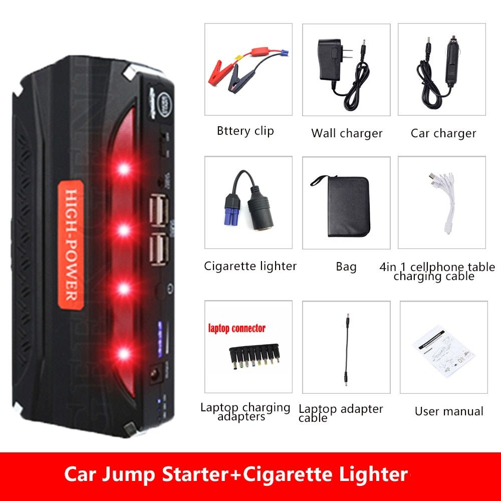 Mini Emergency Car <font><b>Jump</b></font> Starter 600A Peak 12V Portable Power Bank Battery Charger Car booster Car Charger Starting Device SOS