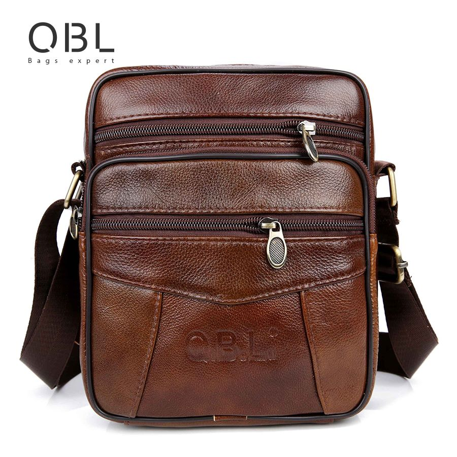 QiBoLu Cow Genuine Leather <font><b>Messenger</b></font> Bags Men Travel Business Crossbody Shoulder Bag for Man Sacoche Homme Bolsa Masculina MBA19