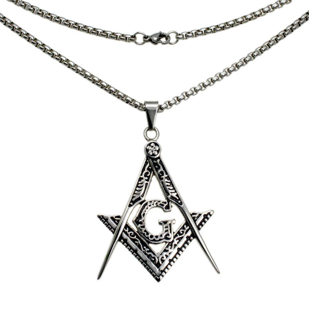 men White gold filled Freemasonry Masonic Mason Pendant Free chain necklace N282 50 60 70 80cm length