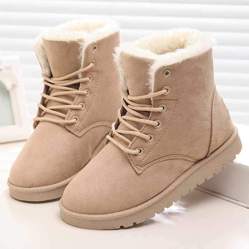 Women Boots 2017 Fashion Winter Shoes Women Flats Solid Snow Ankle Boots Ladies Snowshoes