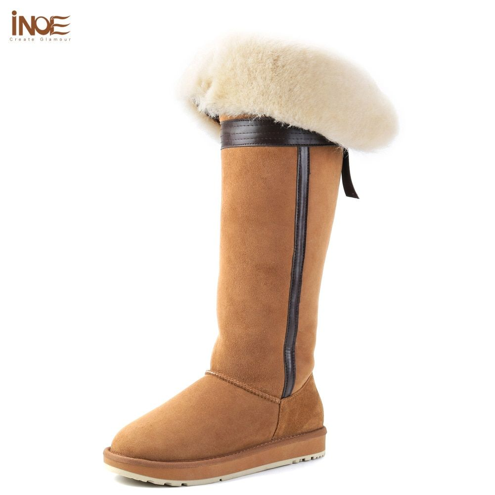 INOE over the knee real suede sheepskin leather fur lined winter long snow boots for women bowknot thigh winter wool shoes 35-44