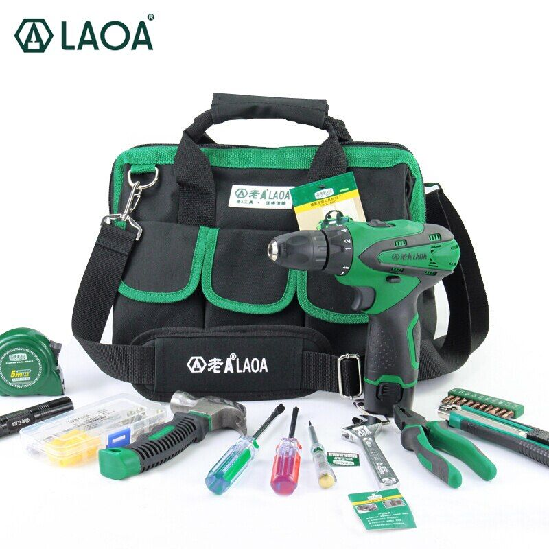 LAOA 35PCS 12v Li-ion Electric Screwdriver Power Tools Set Electrical Drill Hammers Screwdrivers Pliers Wrench With Tool Bag