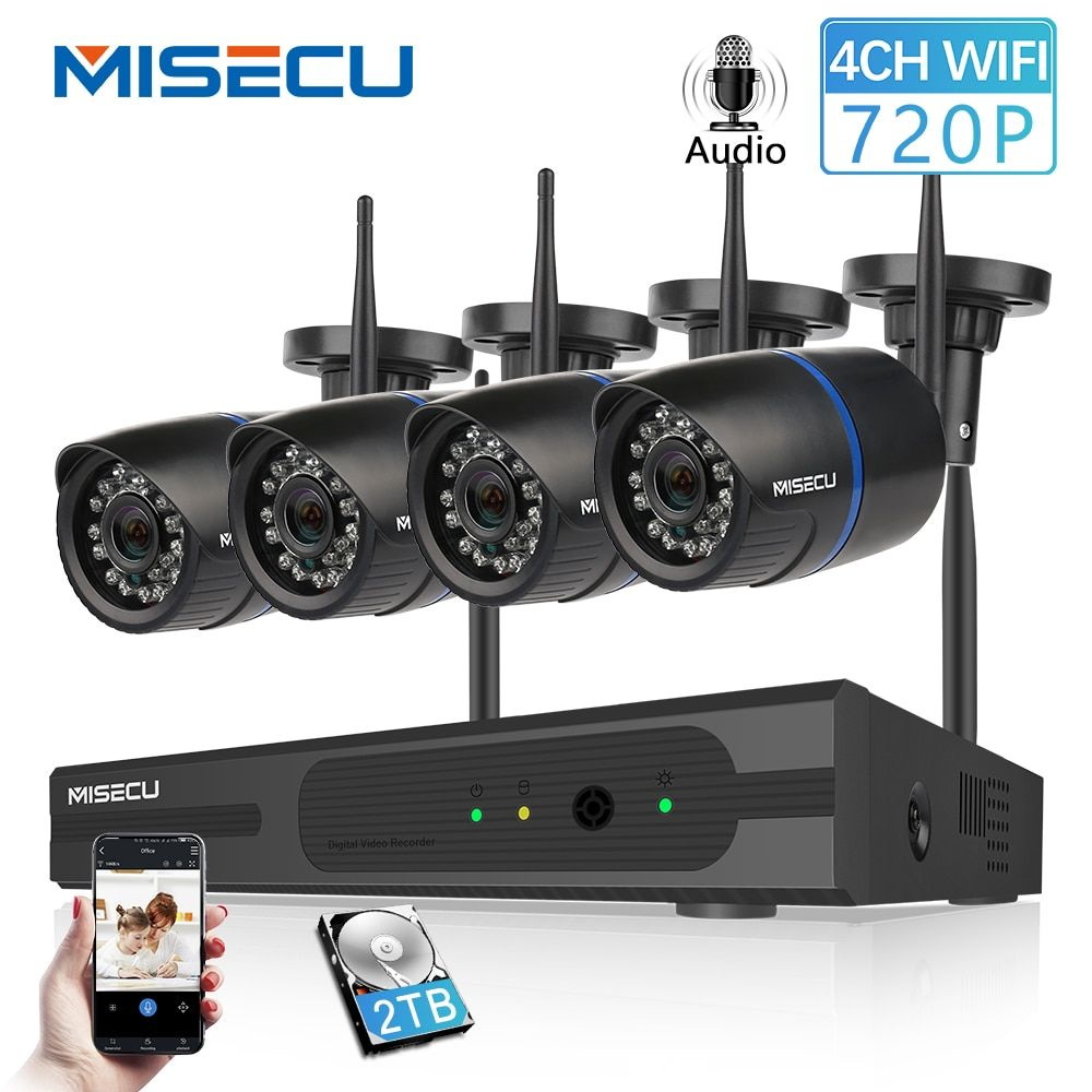 MISECU 4CH 720P 1MP IP Camera Audio Record Wireless Security CCTV System Home NVR wifi Video Surveillance Kits Set plug play