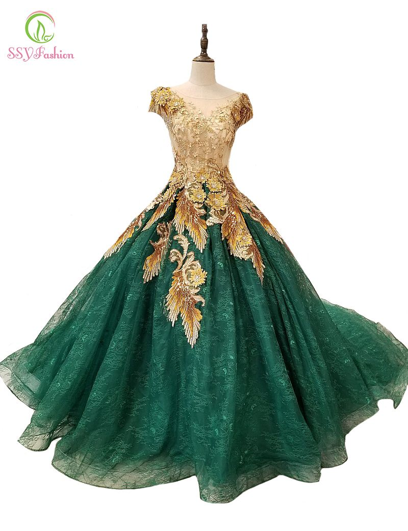 SSYFashion 2018 High-end Prom Dress Luxury Green Lace Appliques Sequined Court Train Evening Party Gown Banquet Formal Dresses