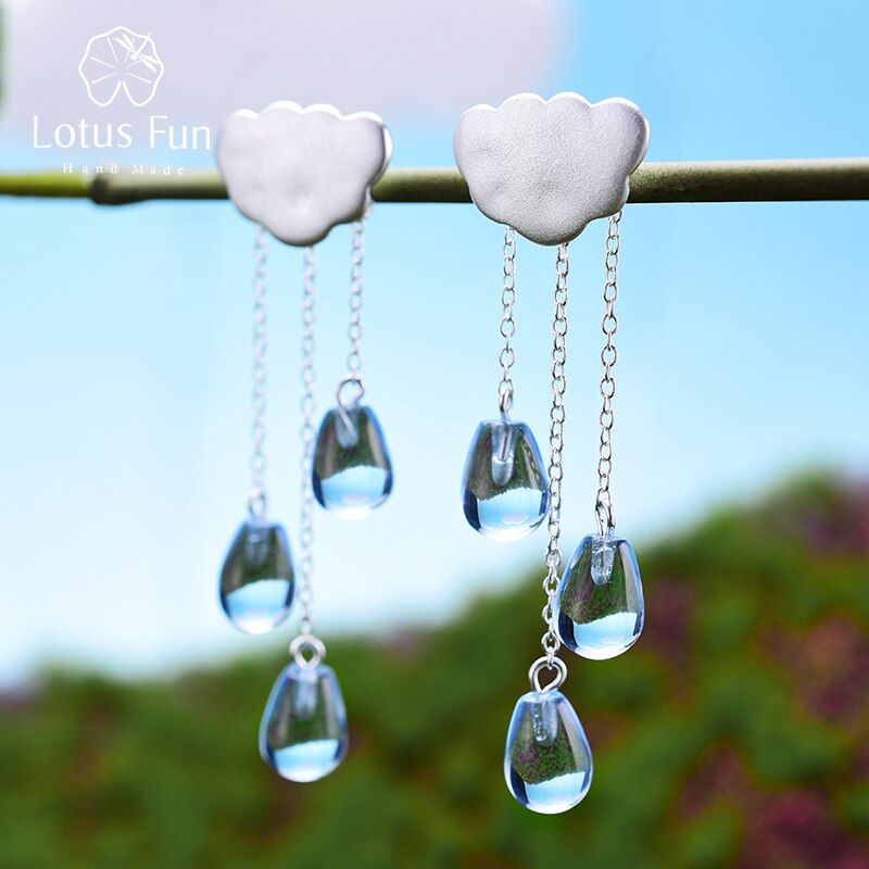 Lotus Fun Real 925 Sterling Silver Natural Handmade Fine Jewelry Ethnic Cloud Long Tassel Dangle Earrings for Women Brincos