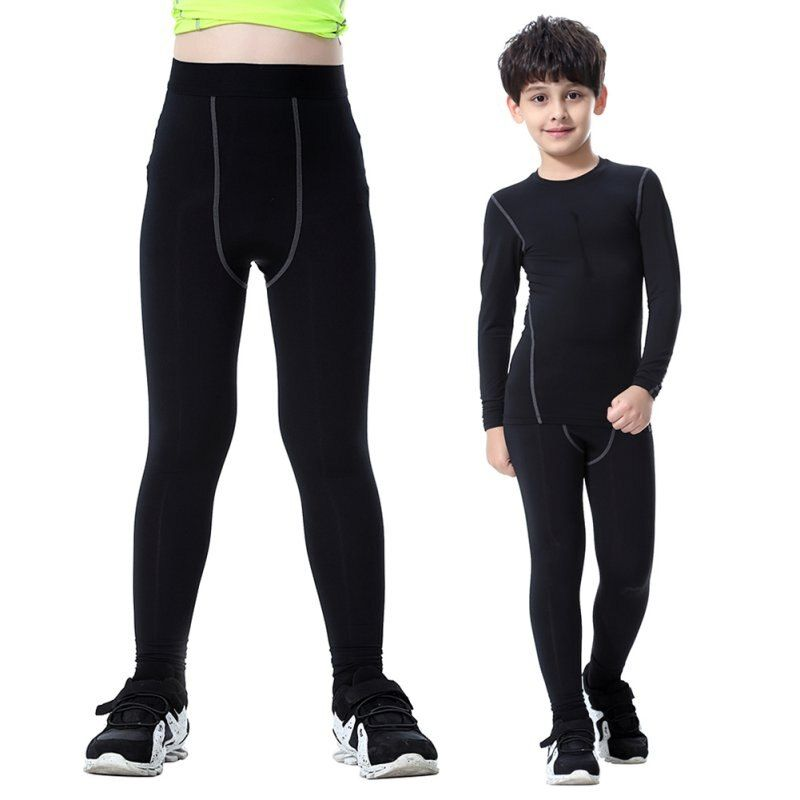 Quick-drying Child Kids Boy Girls Compression Cycling Long Bicyle Black Trousers Skin Tight Pants