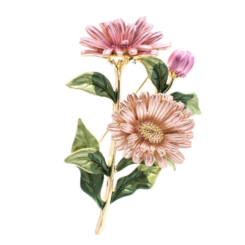 Pretty Enamel Daisy Chrysanthemum Flower Brooch Pin Broach For Woman Jewelry Spring Jewelry 04723
