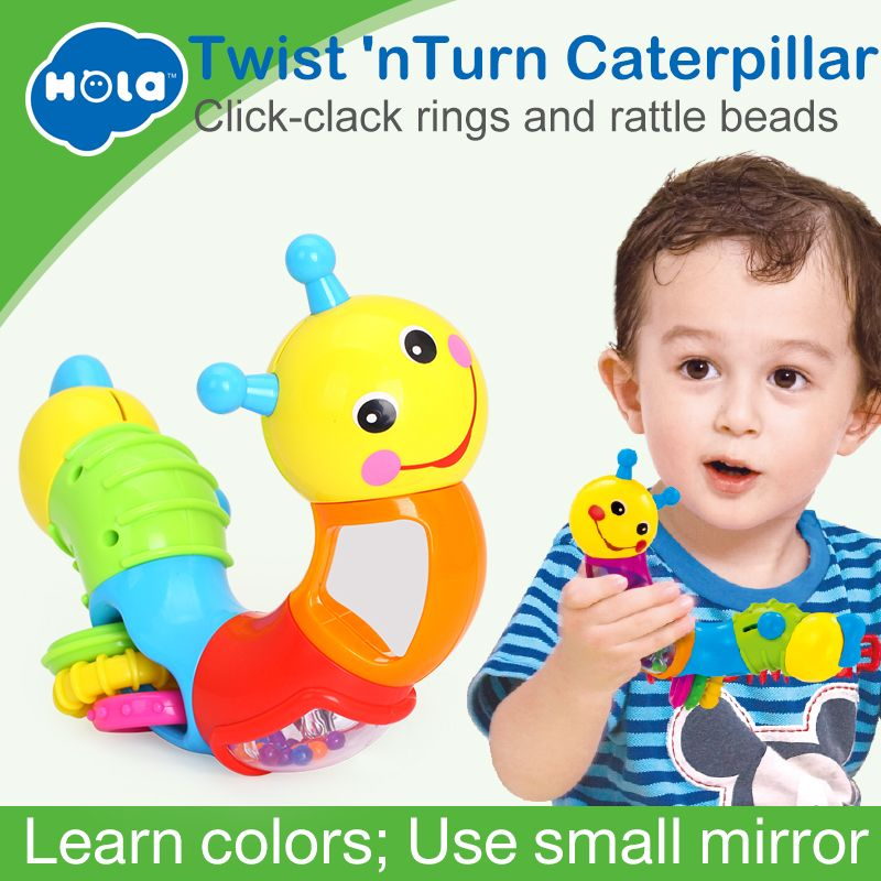 HOLA 786B Kids Educational Toys Baby Rattle Lovely Worm Toys Insert Puzzle Turning Toys for Baby Fingers Flexible Training