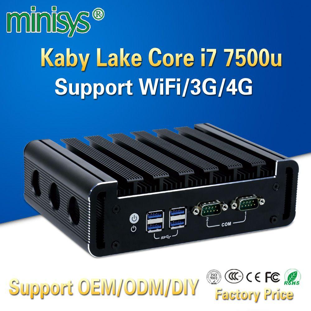 Minisys Fanless Linux Computer Intel Core i7 7500u 4 k Mini PC Dual Nic Barebone Nvidia i9 Thin Client unterstützung ddr4 3G 4G Modul