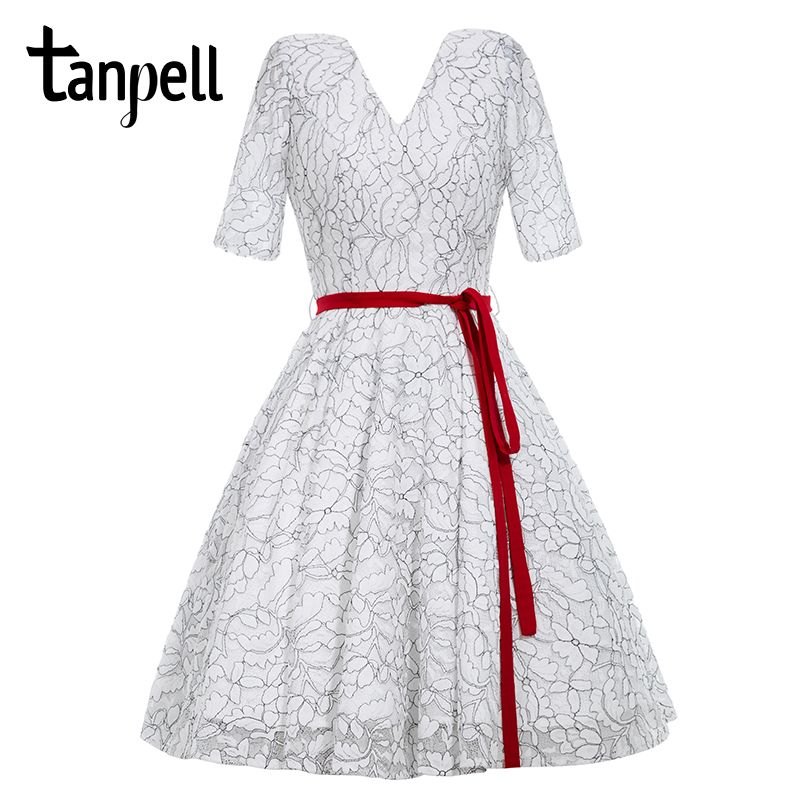 Tanpell sexy v neck cocktail dress retro white lace short sleeve a line knee length dress sashes cheap short cocktail dresses