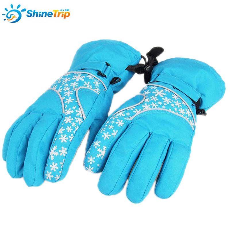 ShineTrip Christmas Series Snowflake Pattern Reflective Gloves Polyester Anti Slip PU Outdoor Winter Sports Ski Gloves For Women