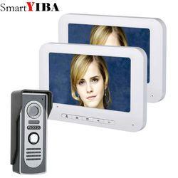 SmartYIBA 7 Inch TFT 2 Monitors Video Door Phone Doorbell Intercom Kit 1-camera 2-monitor Night Vision with HD 700TVL Camera
