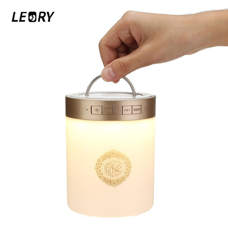 LEORY SQ112 Wireless Remote Control Quran Bluetooth Speaker Portable MP3 FM Radio Touch LED Speaker with 25 Languages US/UK
