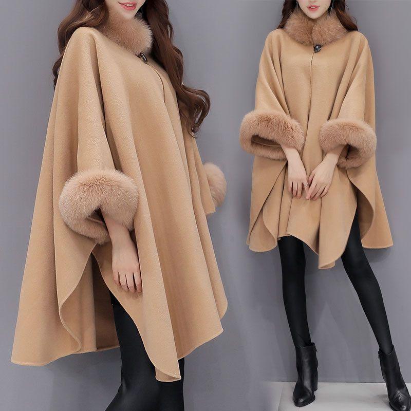 Winter new Korean imitation fox fur collar and long sections woolen coat temperament cloak cape Loose solid color coat AL71000