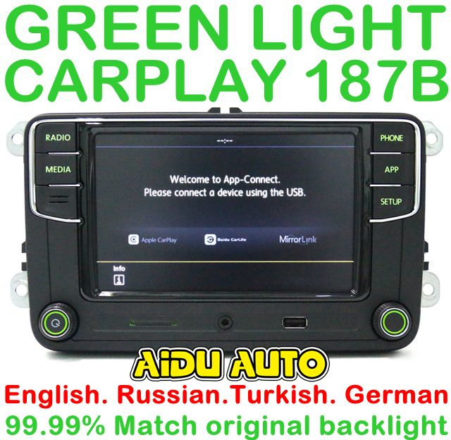 Green backlight German Russian Turkish Language 187B RCD330 Plus CarPlay Radio For Skoda Octavia A5 fabia