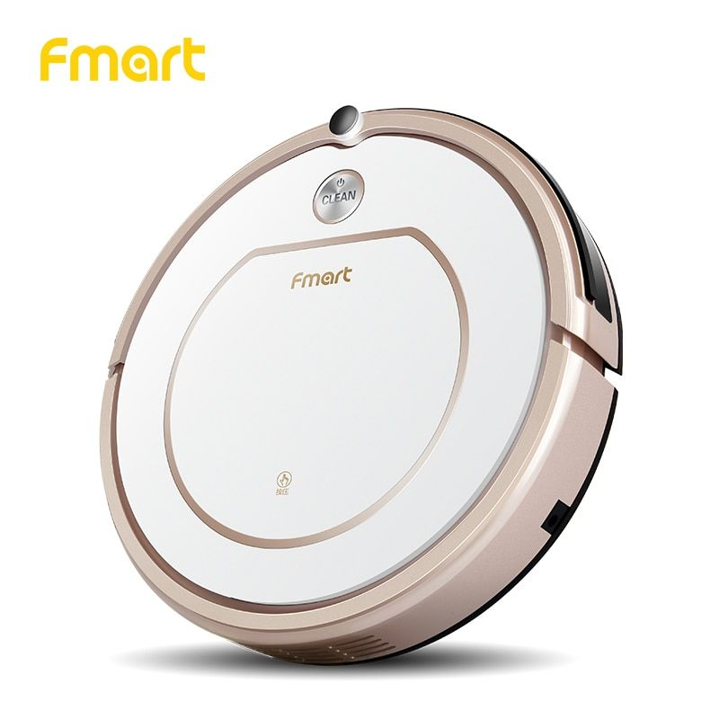 Fmart Mini Robot Vacuum Cleaner Battery Dry&Wet Mopping For Home Appliances 3 in 1 Vacuums For Wood Floor Color Champagne ZJ-C1