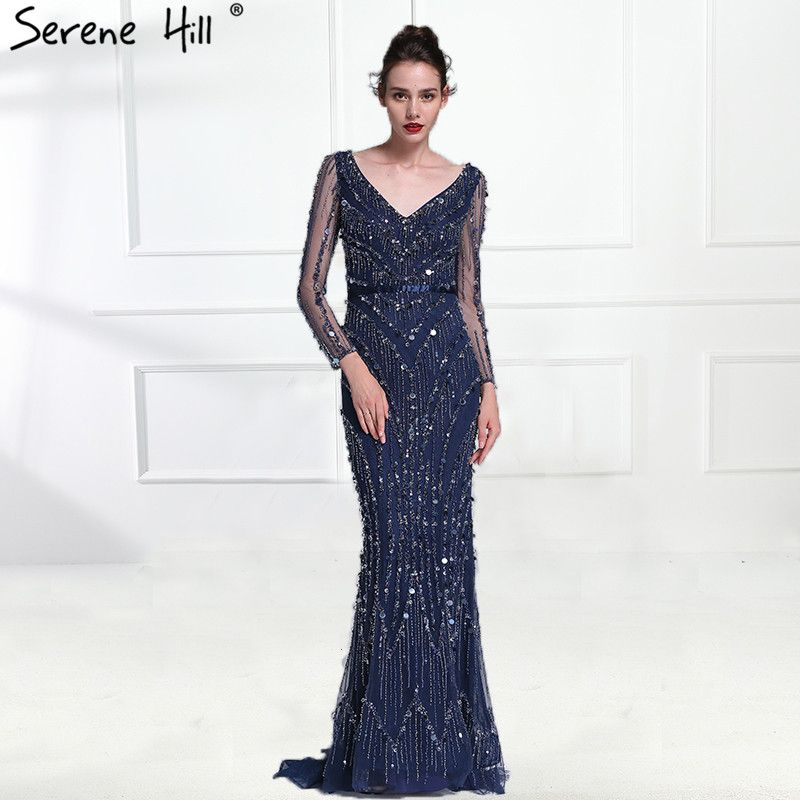 Dubai Robe De Soiree Luxury Long Sleeve Evening Dresses 2018 Real Photo Crystal Sequins Navy Blue Mermaid Party Gown BLA6010