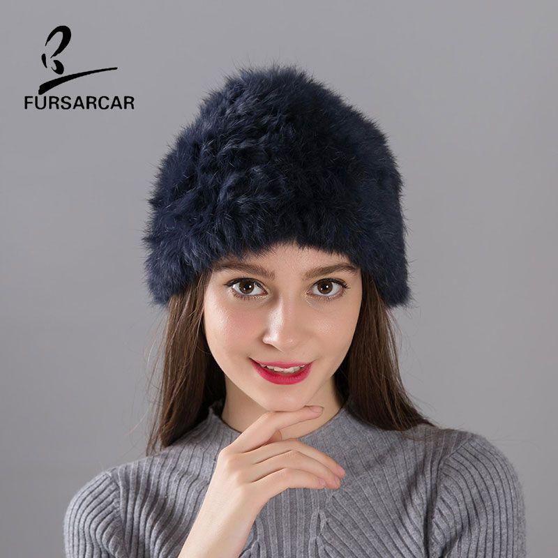 FARSARCA Rabbit Fur Hat Handworks Knitted Fur Hat Cap Women's Winter Light Thin Warm 12 Colors Female Real Rabbit Fur Hats Cap