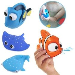 1PCS New Baby Bath Toys Squeeze Sounding Debbling Toys Kids Float Water Tub Rubber Bathroom Play Animals