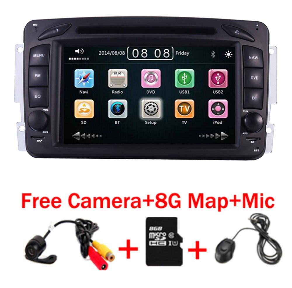 2din 7 inch CAR DVD PLAYER For Mercedes Benz W209 W203 W168 M ML W163 W463 Viano W639 Vito Vaneo 3g GPS BT Radio USB SD Free Map