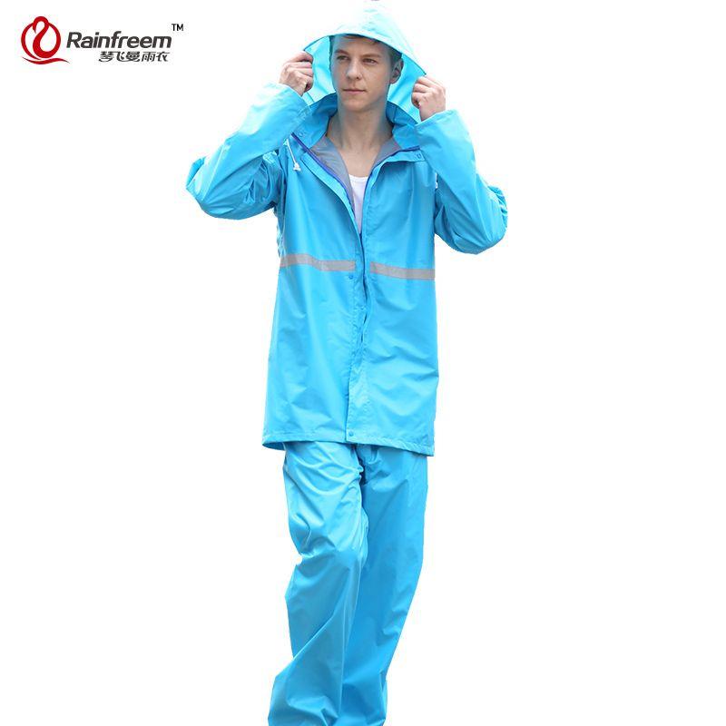 Rainfreem Breathable Impermeable Raincoat Women/Men Suit Rain Coat+Pants 2 Piece Set Women Raincoats Motorcycle Rain Gear Poncho