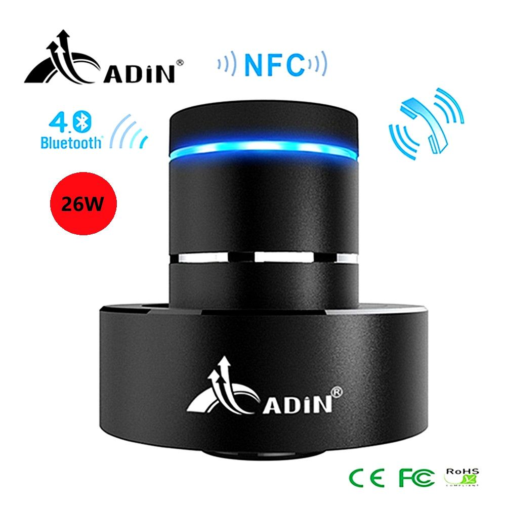 Bluetooth Vibration Speaker Adin 26W Super Bass Mini Portable Wireless Speaker Nfc Metal 360 Stereo Speaker for Phone column