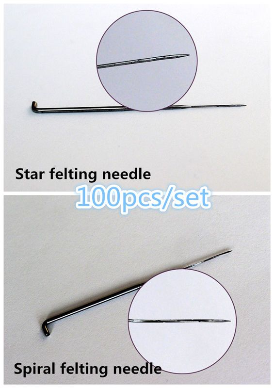 Free shipping 100PCS Star felting needle/Spiral felting Needle Feliting Wool Needles made in China