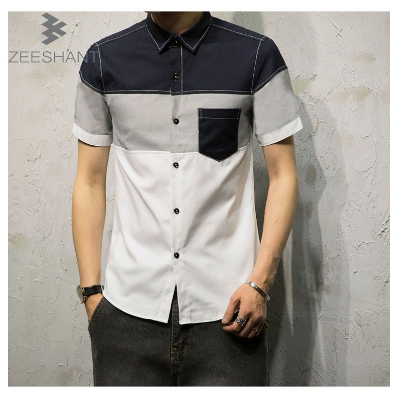 ZEESHANT 2018 Fashion New Mens Dress Shirts Patchwork XXXXXL Men Short Sleeve Shirt Camisa Masculina in Men's Tuxedo Shirts