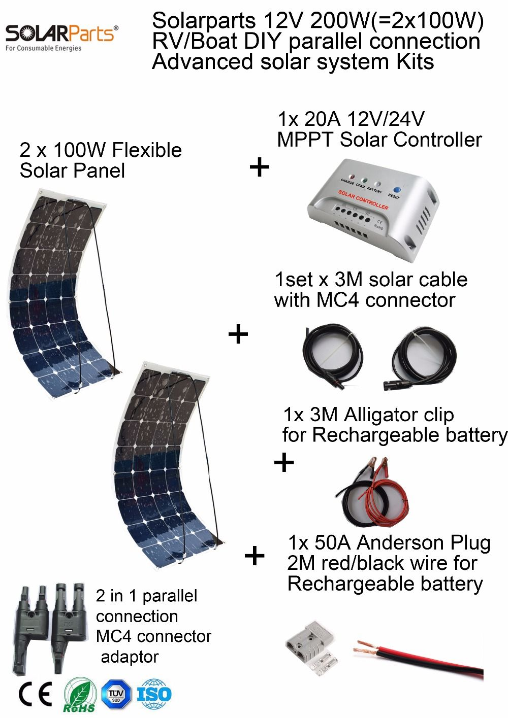 Solarparts 200W DIY RV/Marine Kits Solar System 2x100W flexible solar panel 12V, 1x 20A MPPT solar controller set cables cheap.
