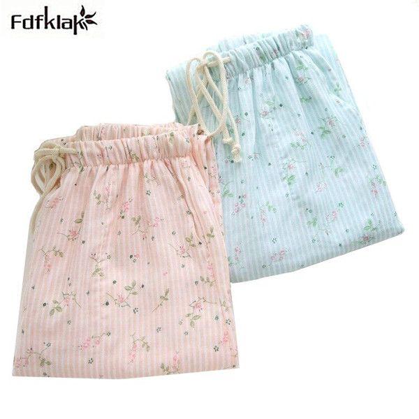 Fdfklak Frais imprimé floral coton sommeil pantalon automne hiver accueil pantalon grande taille salon pantalon pyjama bas femmes pantalon