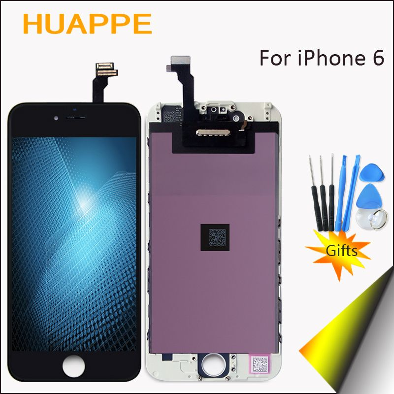 HUAPPE 100% Test AAA++ Good Quality No Dead Pixel LCD Screen For iPhone 6 Display Touch Replacement For iPhone 6 LCD White Black