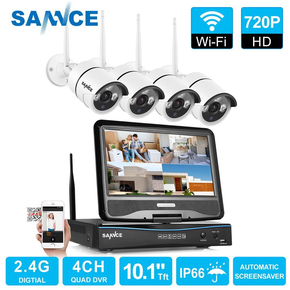 SANNCE 4 canaux Wifi 720 P caméra ip NVR CCTV système de caméra sans fil 4CH wifi NVR kit wifi NVR kits kit de vidéosurveillance 1 to HDD