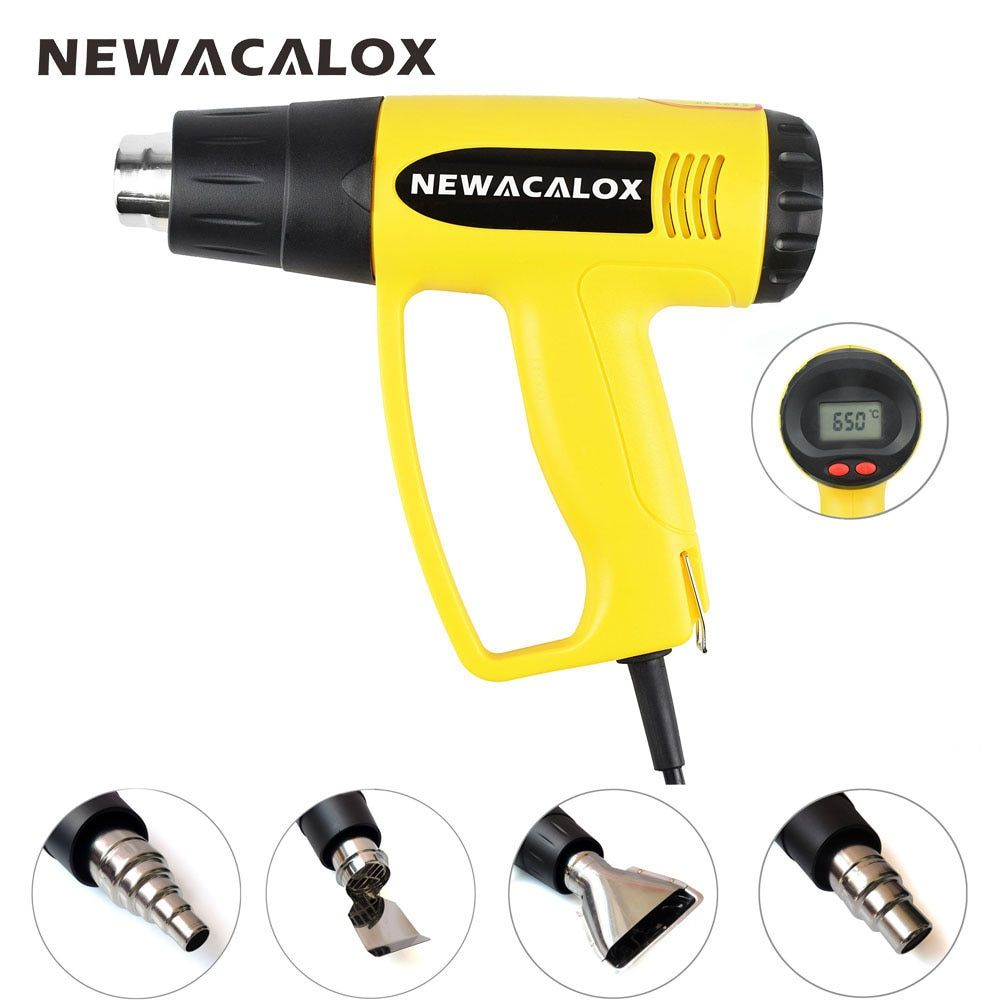 NEWACALOX LCD Display EU Plug 2000W 220V Industrial Electric Hot Air Gun Thermoregulator Heat Gun Shrink Wrapping Thermal Heater