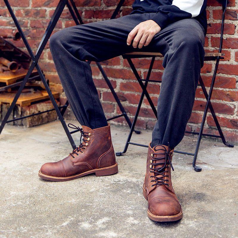 Nouveau mode hommes bottes moto à la main aile en cuir véritable affaires de mariage bottes décontracté Style britannique vin rouge bottes 8111