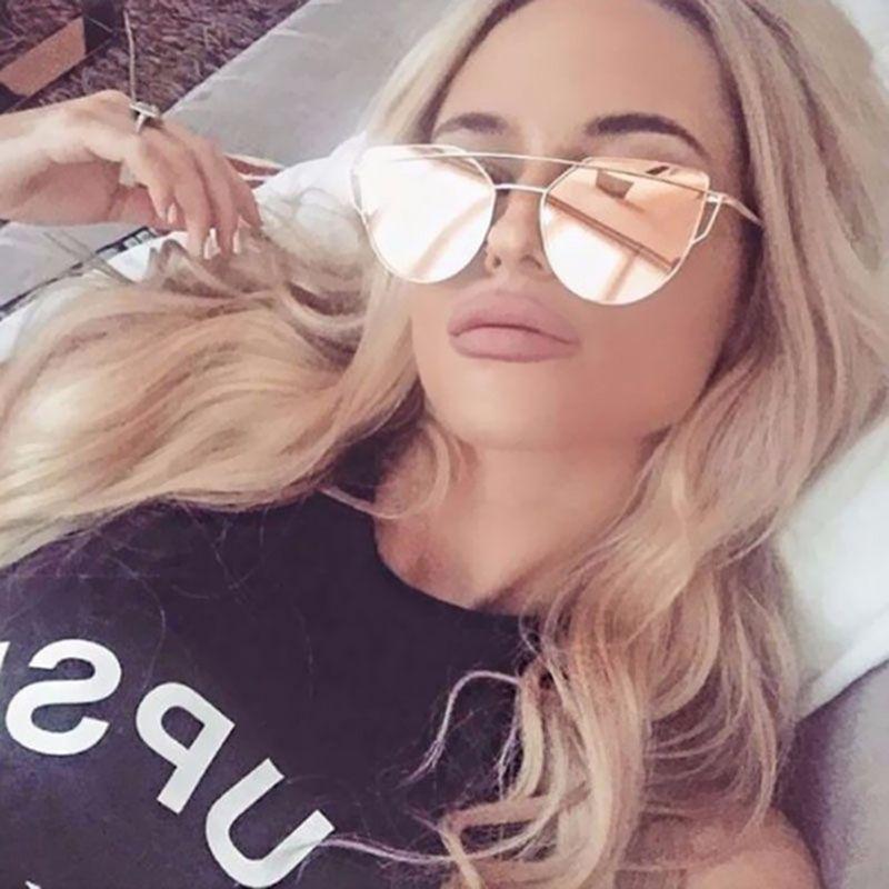 2018 Cat Eye vintage Brand designer rose gold mirror Sunglasses For Women Metal Reflective flat lens Sun Glasses Female oculos