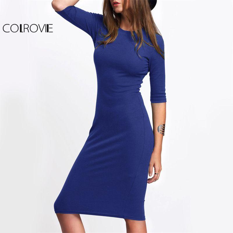 COLROVIE Basic Slim Casual Tee Dress 2017 Royal Blue Elegant Women Bodycon <font><b>Work</b></font> Midi Dresses Fashion New Half Sleeve Solid Dress