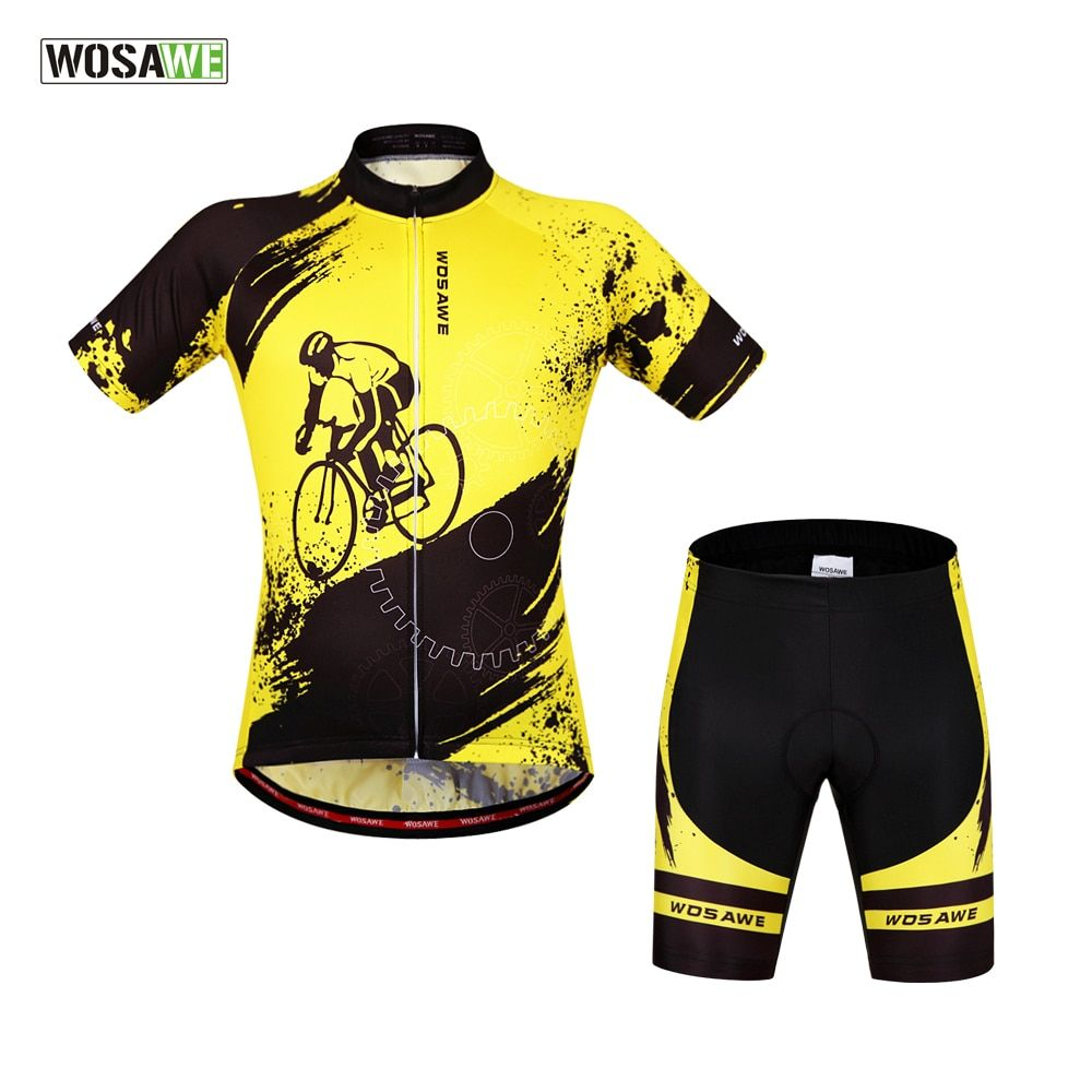 WOSAWE Brand New Cool Cycling Jersey Set Short Sleeve Sportswear Polyester Summer Bike Cycling Clothing ropa ciclismo hombre