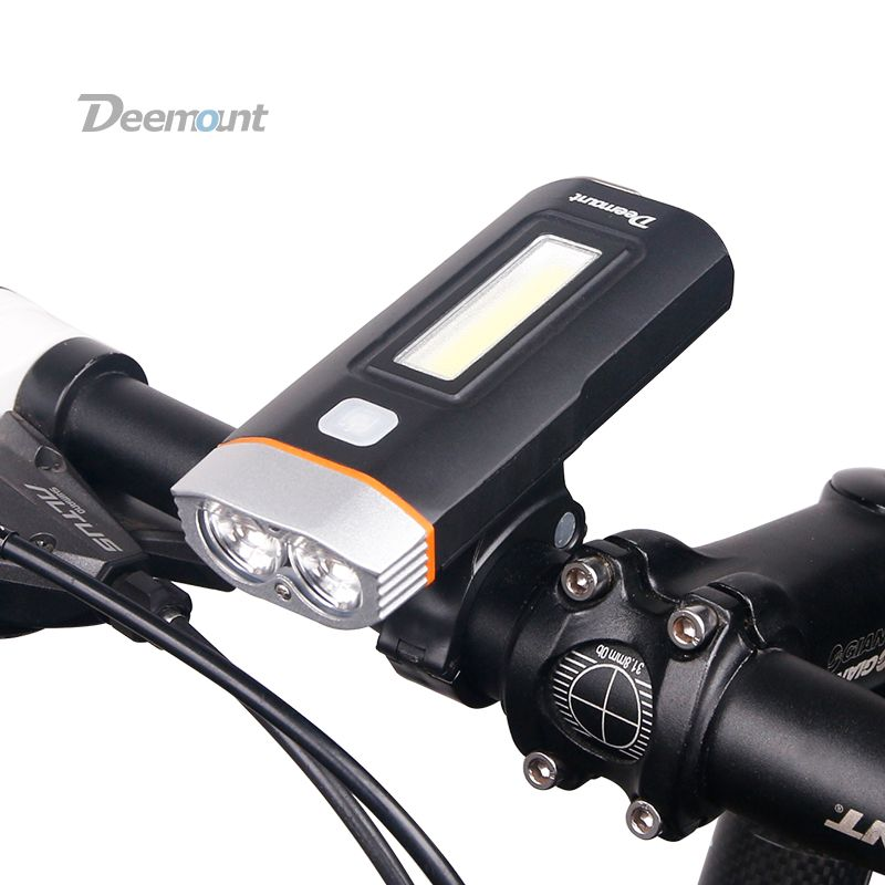 Deemount New Dual Two Lights Bicycle Headlight Bike LED Lamp T6 Cree U2 COB Front Light 650Lumens 18650 Battery Rechargeable