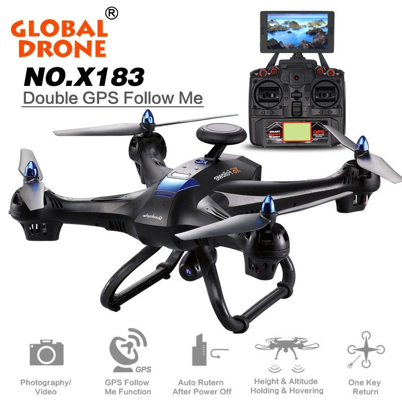 New Global Drone X183 5.8GHz 6-Axis Gyro WiFi FPV 1080P Camera Dual-GPS Follow Me Brushless Quadcopter
