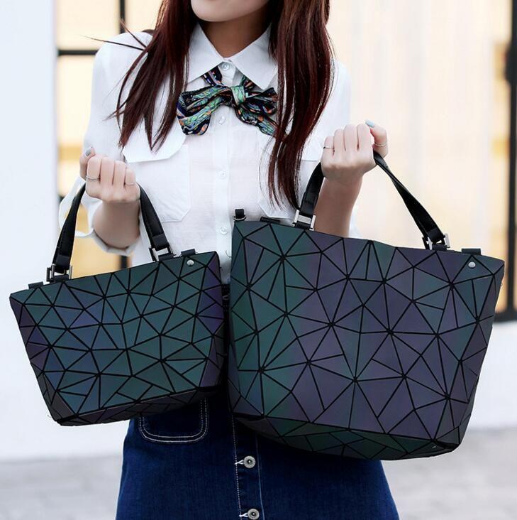 Japan Bao Drop Shipping Luminous Bag women's geometry lattic totes bag Chain Shoulder Bags Laser Plain Folding Handbags