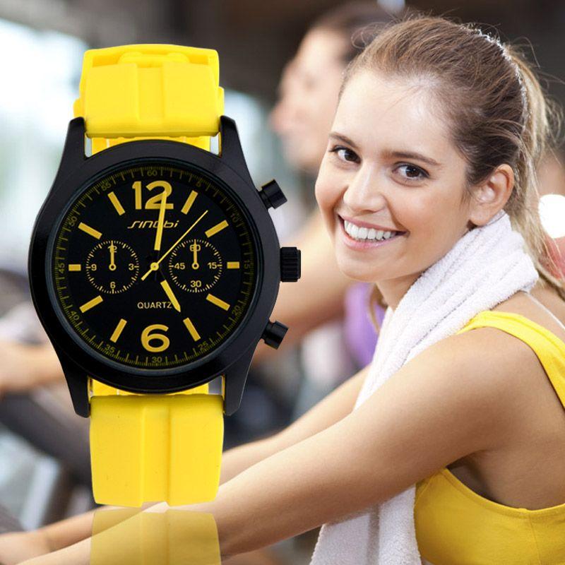 SINOBI montres de sport pour dame coloré Silicone sangles marque de luxe décontracté poignet Quartz-montre 2019 horloges Reloj Mujer