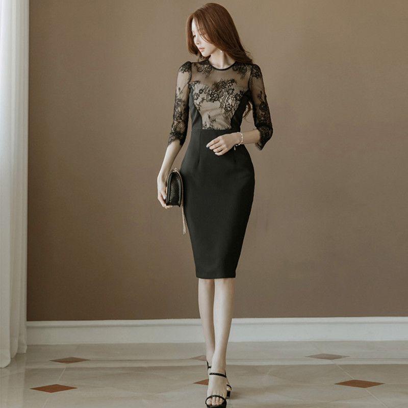 YaLiShi noir dentelle robe été femmes 2018 solide moulante Vintage Sexy Club robes Vestidos socialite grande taille robe crayon