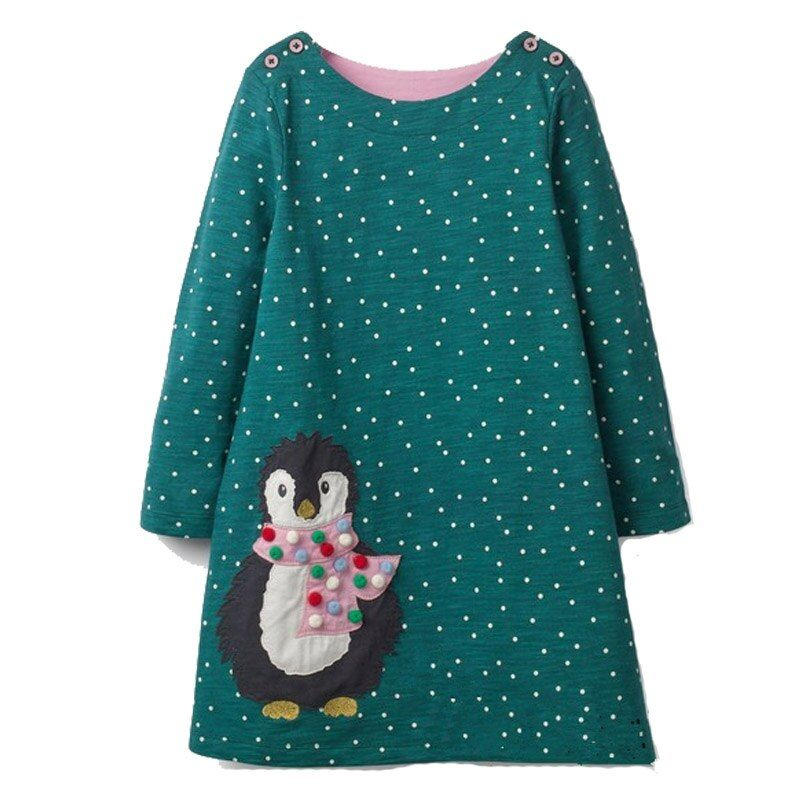 Filles Robe avec Animal Applique à manches longues Robe de princesse enfants Costume Robe Fille enfants robes de fête bébé Fille vêtements