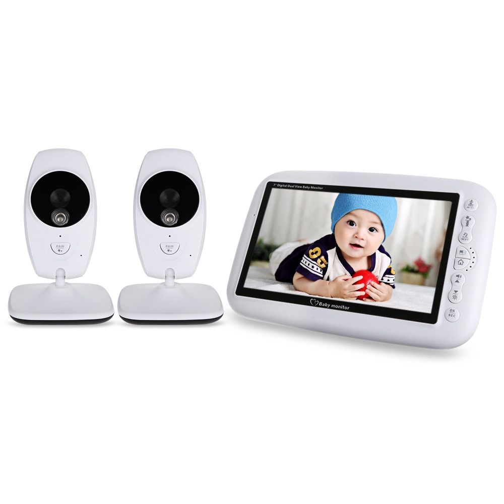 7.0 Inch 2.4GHz Wireless TFT LCD 2 Camera Video Baby Monitor With Infrared Night Vision Temperature Detection Nanny Monitor
