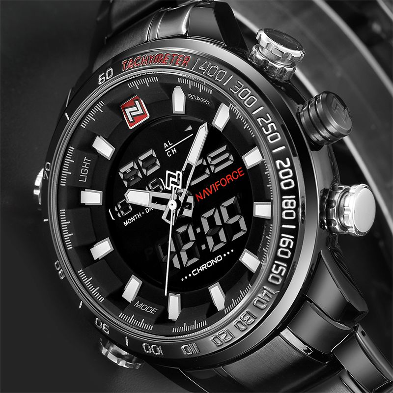 NEW Top Luxury Brand Men Sports Wrist Watch Men's Military Waterproof Watches Men Full Steel LED Digital Watch Clock Male