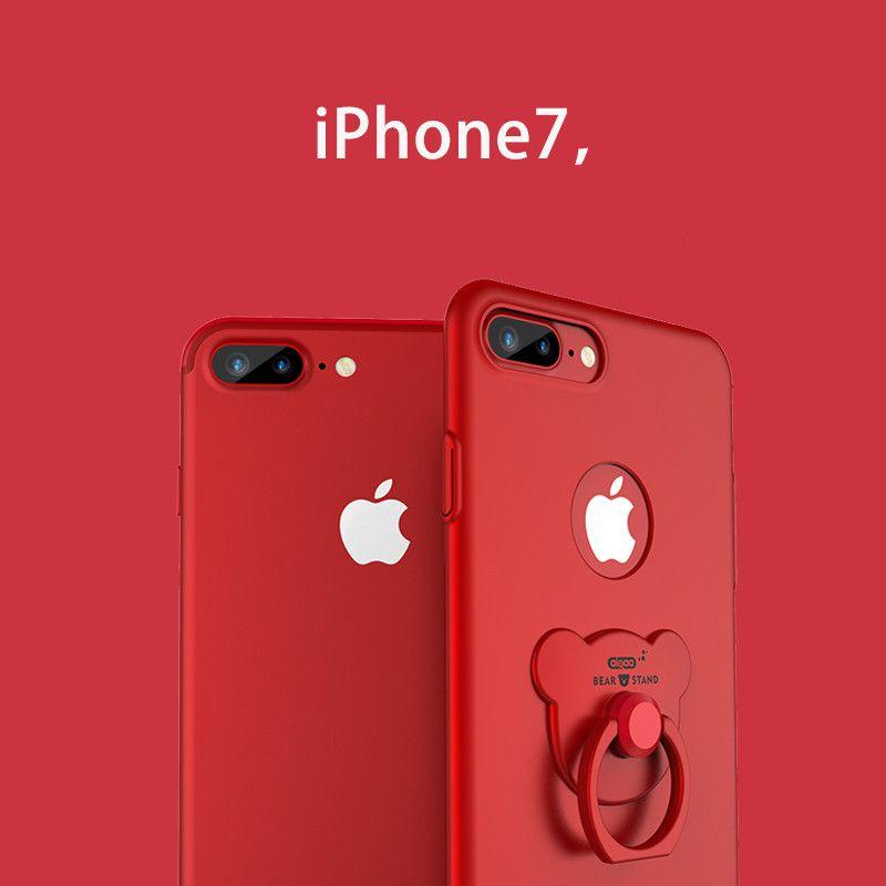 360 drehen Bär Ring telefonkasten für iphone 6 6 s Plus solide Metallic farbe handy abdeckung für iphone7 7 Plus Red back fall