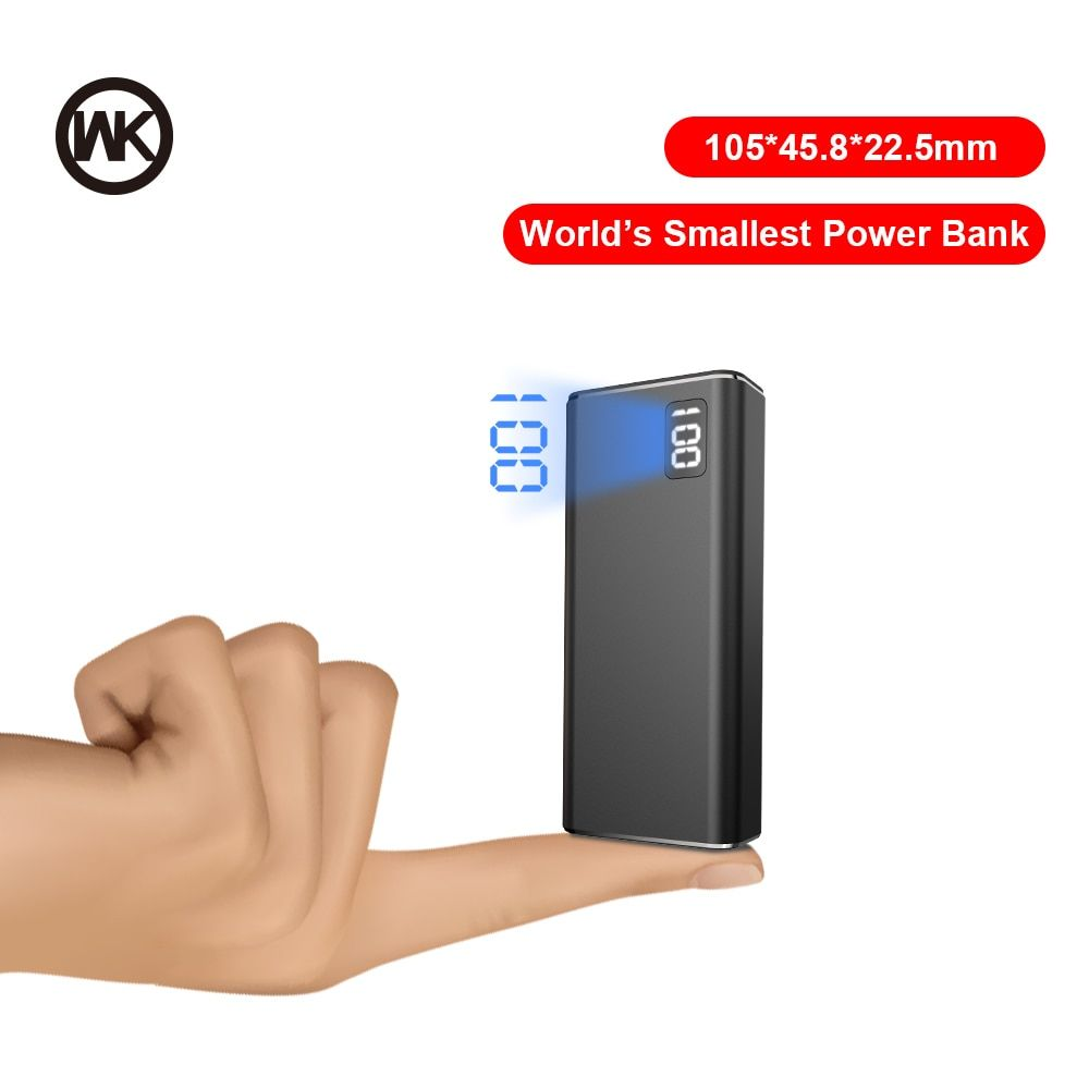WK 3 Input 2USB Mini Power Bank 10000mAh Metal Portable Charger 10000 mAh Powerbank For iPhone Xiaomi External Battery Poverbank