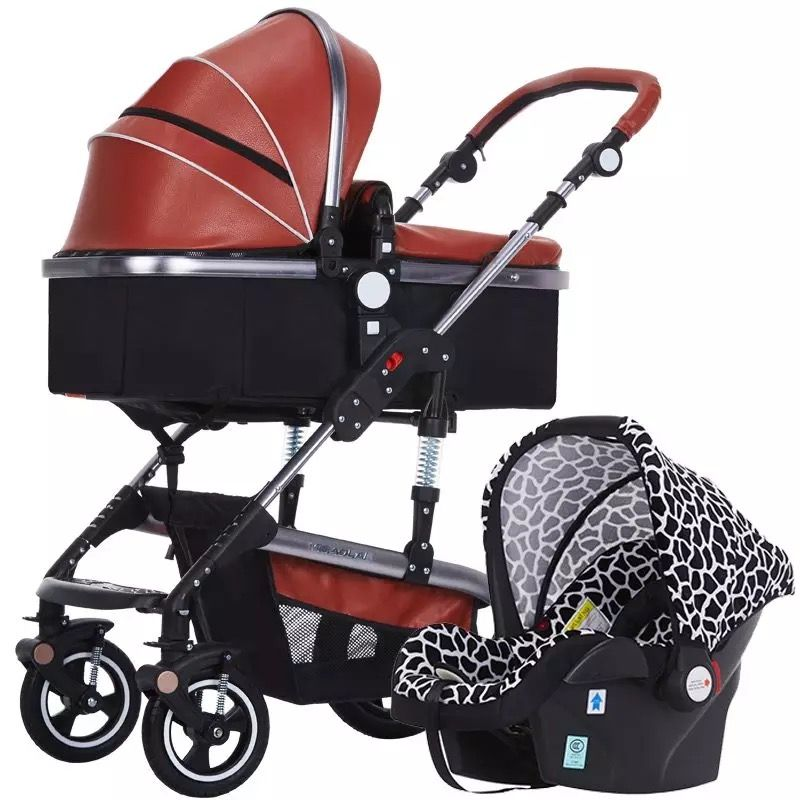 3 in 1 baby stroller high landscape can be lying and set easy to folded children's trolley with the car set