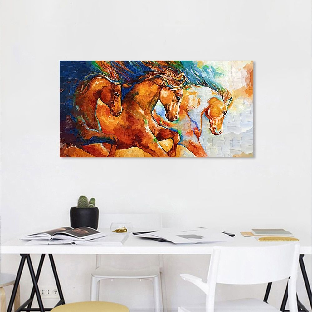 AAVV Oil Painting Posters Running Horse Canvas Painting Wall Art Picture Canvas Wall Pictures for Living Room No Frame